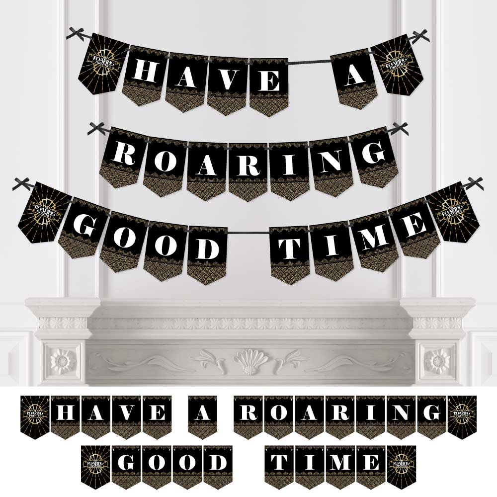 Roaring 20's - 1920s Art Deco Party Bunting Banner - Jazz Party Decorations - Have A Roaring Good Time