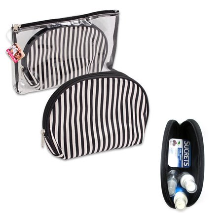 2 Pc Cosmetic Bag Set Makeup Clear Plastic Toiletry Travel Bag Pouch Organizer ()