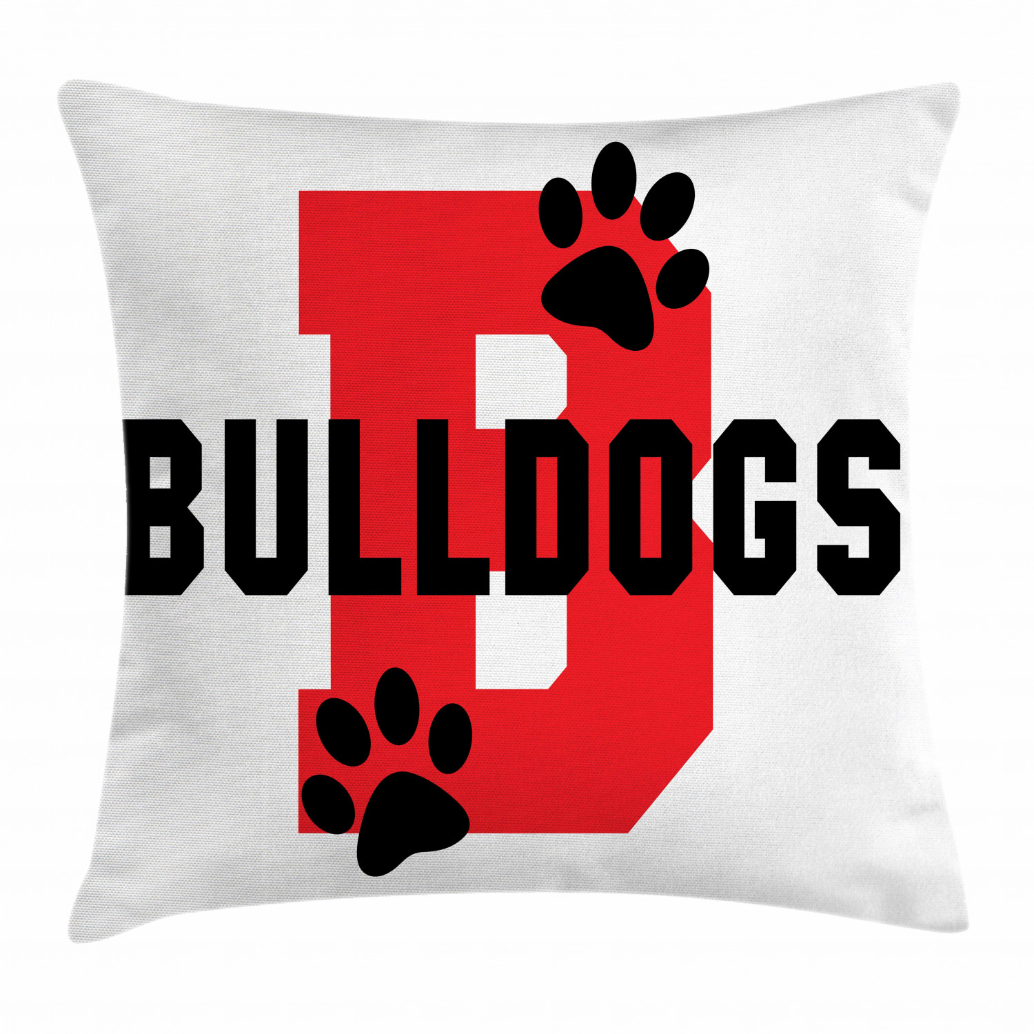 English Bulldog Throw Pillow Cushion Cover Paw Print Silhouette And Giant B Letter Background Custom Logo Design Decorative Square Accent Pillow Case 20 X 20 Inches Red Black White By Ambesonne