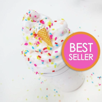 Ice Cream Birthday Cake With Sprinkles & Charm - 4 oz - Scented Butter Slime (Daiso)