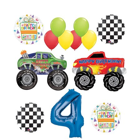Monster Truck Party Supplies 4th Birthday Balloon Bouquet Decorations](Monster Truck Party)