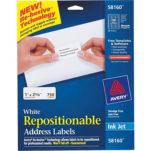 Avery Repositionable Address Labels for Inkjet Printers, 1 x 2 5/8, White, 750/Pack