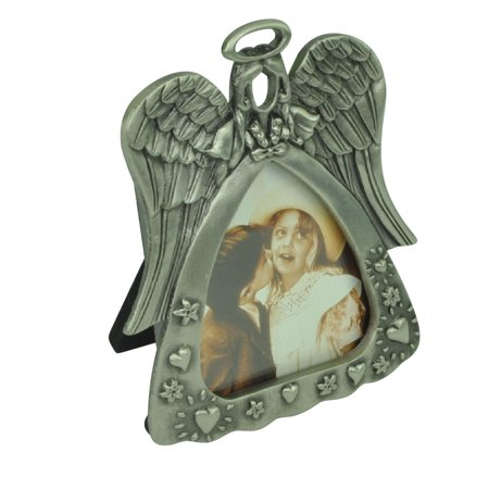 Single Angel Hearts Flowers Starst Two Photos Frame Cast Metal Pewter Home Décor