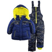 iXtreme Little Boys' Camo-Printed Snowsuit and Jacket Ski Bib Pant Set