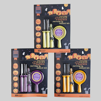 PUMPKIN CARVING AND STENCIL KIT 1-12PC CDU, Case Pack of 12