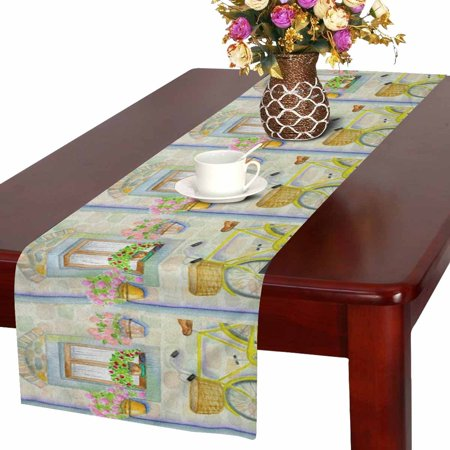 Country Wedding Colors (MKHERT Watercolor Country Life Village House Bicycle and Flowers Table Runner Home Decor for Kitchen Dining Wedding Party 16x72)