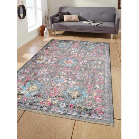 Central Oriental Polyester - Rugsotic Carpets Machine Woven Crossweave Polyester 6'x9' Area Rug Oriental Multicolor M00086