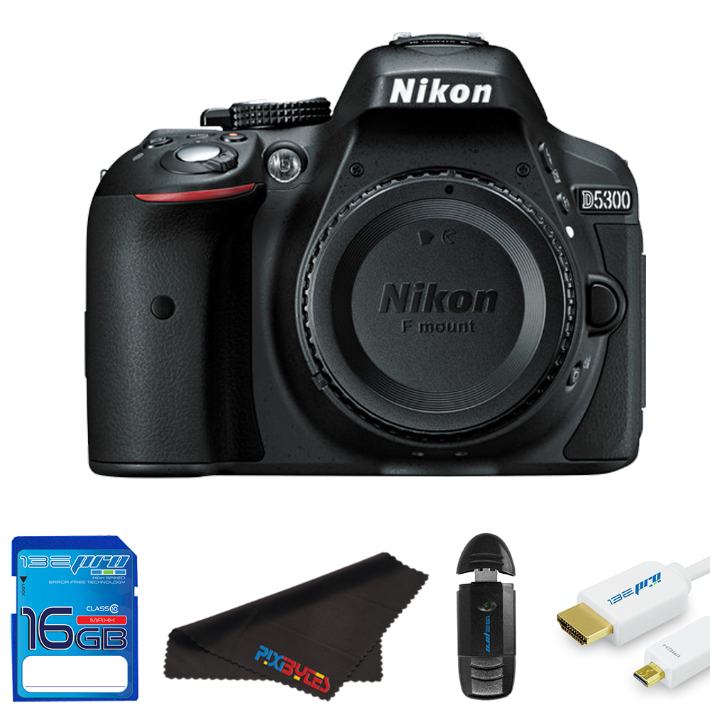 Nikon D5300 DSLR Camera (Body Only, Black) + Pixi Starter Bundle Kit