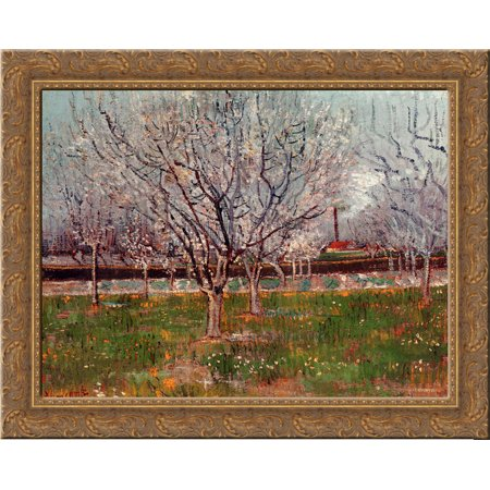 Orchard in Blossom (Plum Trees) 24x20 Gold Ornate Wood Framed Canvas Art by Vincent van Gogh (Orchard Tree)