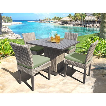Oasis 5 Piece - TK Classics Oasis Wicker 5 Piece Outdoor Square Dining Table with Armless Chairs Set
