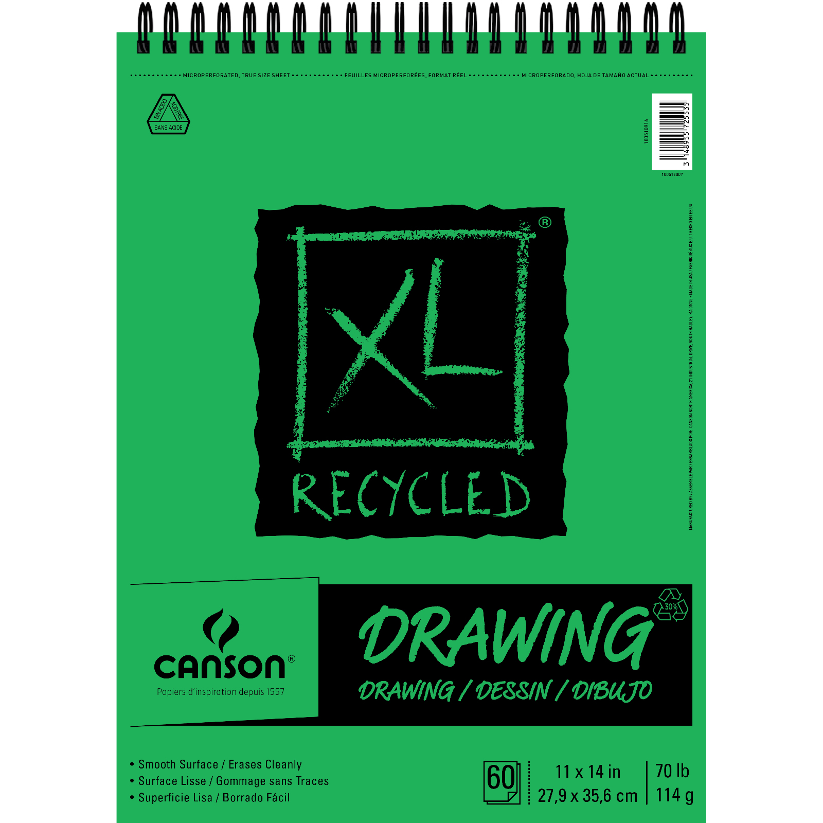 Canson XL Recycled Drawing Pad, 11in x 14in, 60 Sheets/Pad
