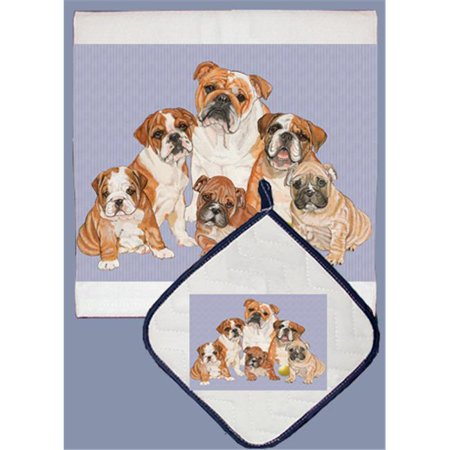 Pipsqueak Productions DP552 Dish Towel and Pot Holder Set - Bull Dog Family (Family Set Towels)