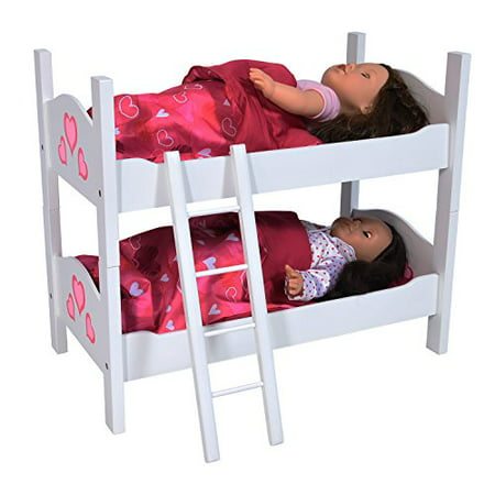 Doll Wooden bunk Bed with Ladder and - Wooden Doll Bed