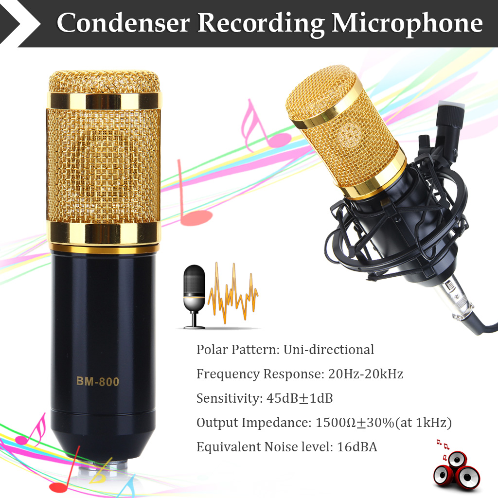 Professional Studio Cable Condenser Microphone Audio MIC Recording Shock Mount