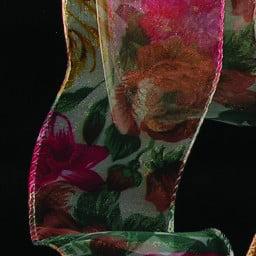 Sheer Woodland Floral Wired Craft Ribbon 2 X 80 Yards Walmart Com Walmart Com