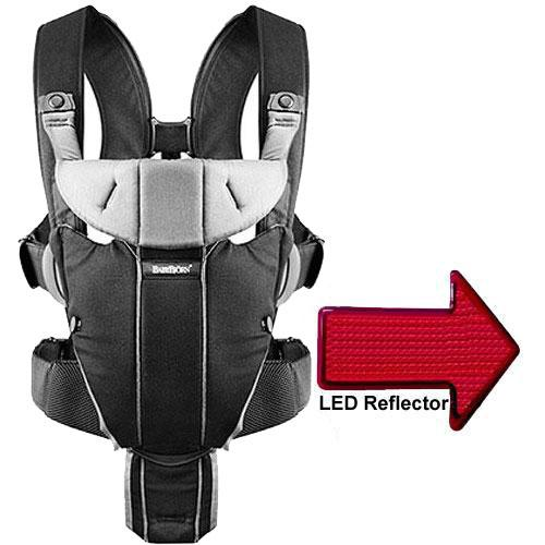 Baby Bjorn Miracle Baby Carrier with LED Safety Reflector Light Black Silver by