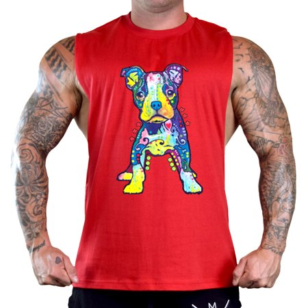 - Men's Neon Pitbull Puppy Sleeveless Red T-Shirt Gym Tank Top 3X-Large Red