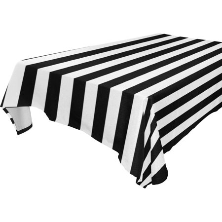 POPCreation Black And White Stripes Tablecloth 52x70 inches