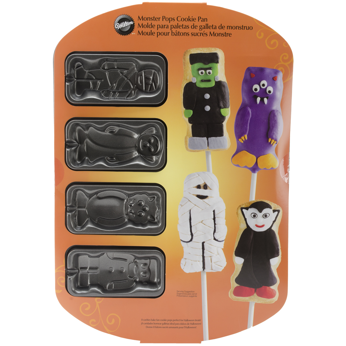 Wilton 8-Cavity Cookie Pop Pan, Monsters 2105-0257