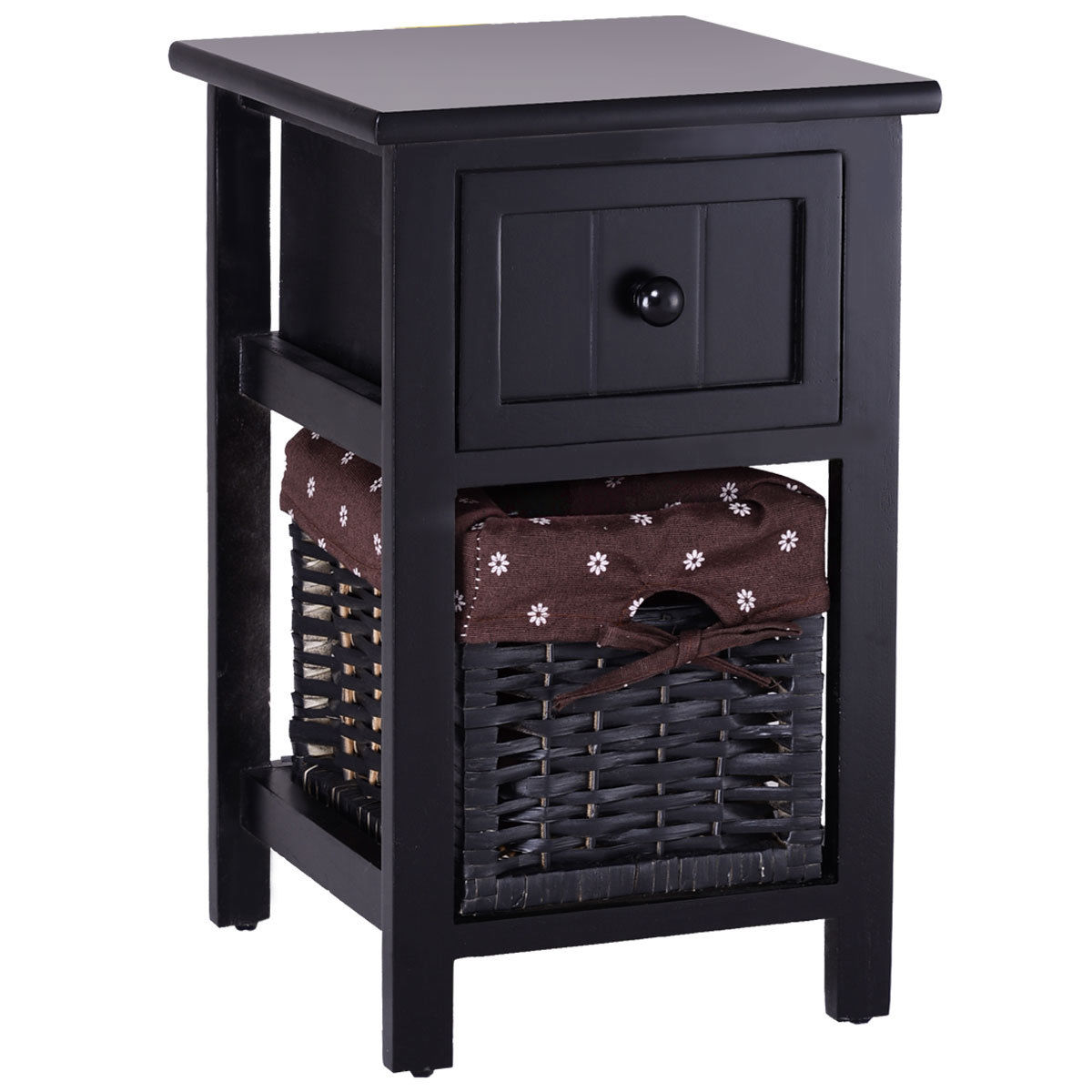 Gymax 2 Tier Nightstand 1 Drawer Bedside End Table Organizer Wood W/Basket Black