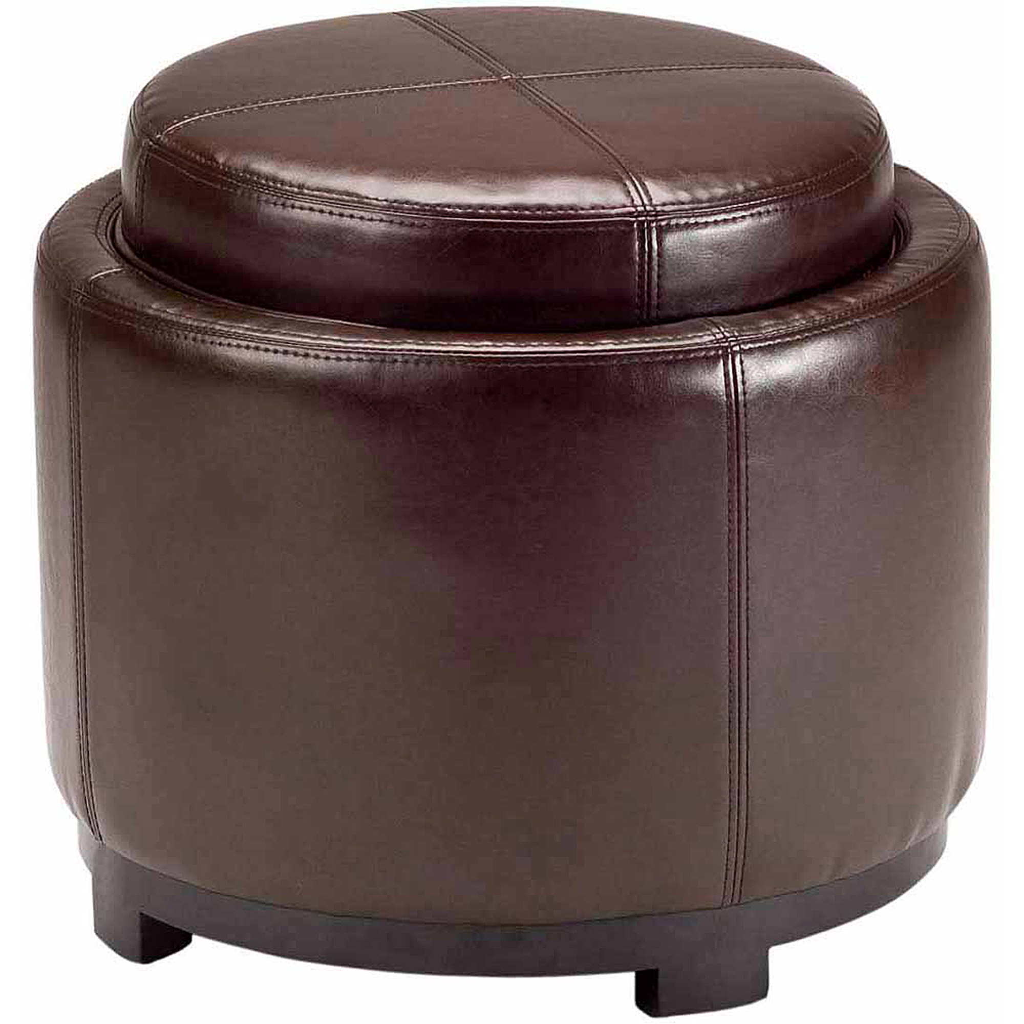 Safavieh Chelsea Bicast Leather Upholstered Round Tray Ottoman, Multiple Colors