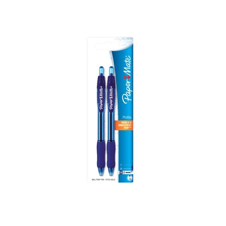 Code Blue Scrape Mate - Paper Mate Profile Retractable Ballpoint Pens, Bold Point, Blue, 2-Pack