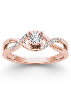 1/20Ct TDW Diamond 10K Rose Gold Criss-Cross Engagement Ring