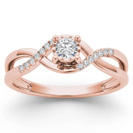 Imperial 1 20Ct Tdw Diamond 10K Rose Gold Criss Cross Engagement Ring