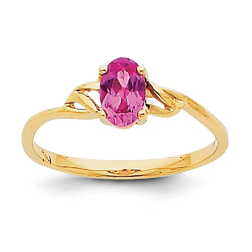 14k Yellow Gold 6x4 Oval Pink Tourmaline Birthstone Ring by Jewelrypot