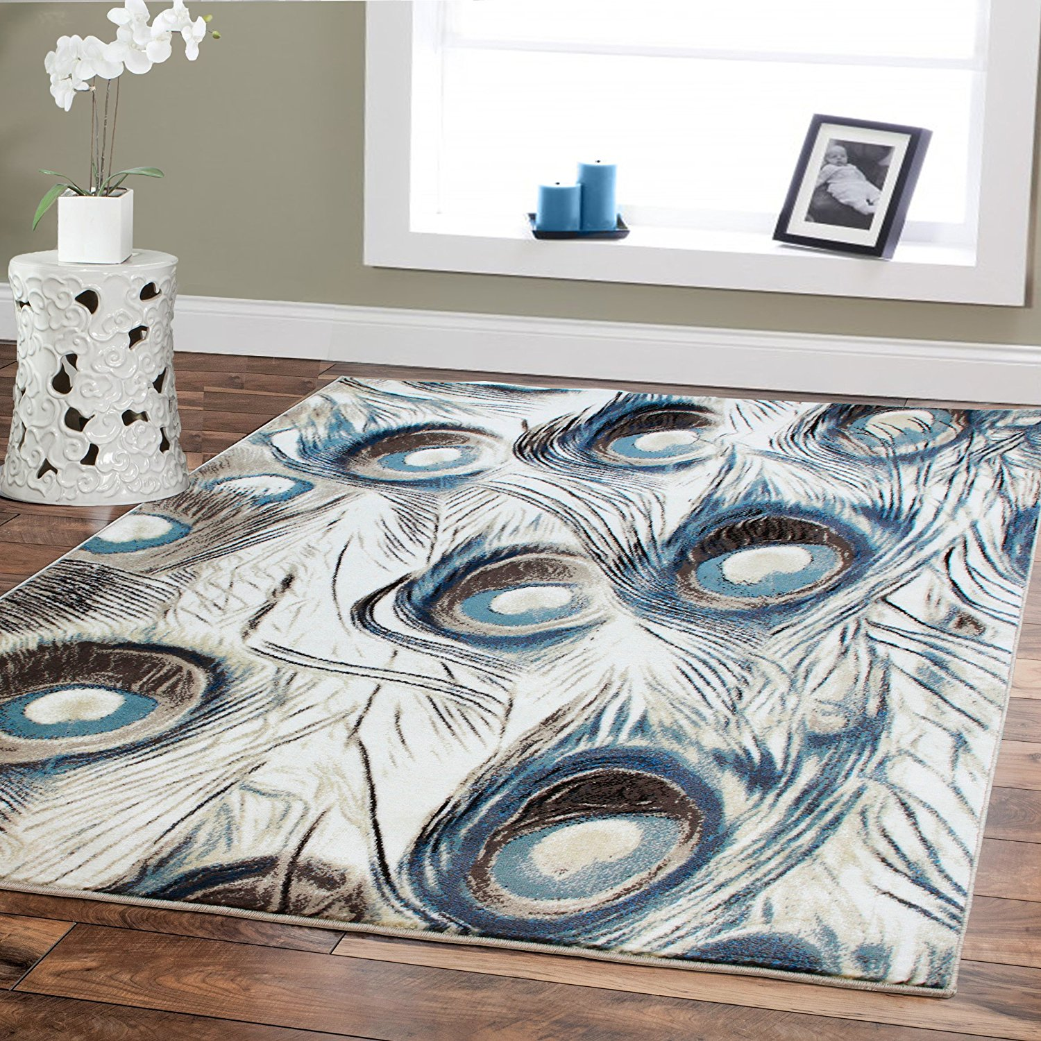 Premium Rugs Large High Quality Rugs for Living Room 8x10 Dining Room Rugs for Under the Table 8x11 Cream Blue Peacock Rugs on Clearance