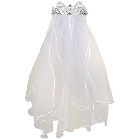 Flower Girl First Communion Veil Two Layers Tulle & Tiara Attach White TR T107