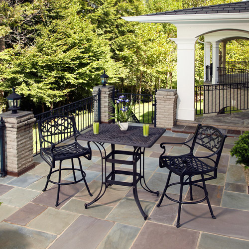 Home Styles Biscayne Space Saving Rectangle 3-Piece Outdoor Bistro Set