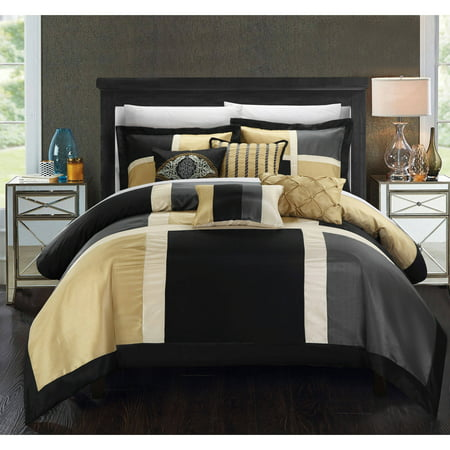 Chic Home Filomena 11-Piece Color Block Bed in a Bag Comforter