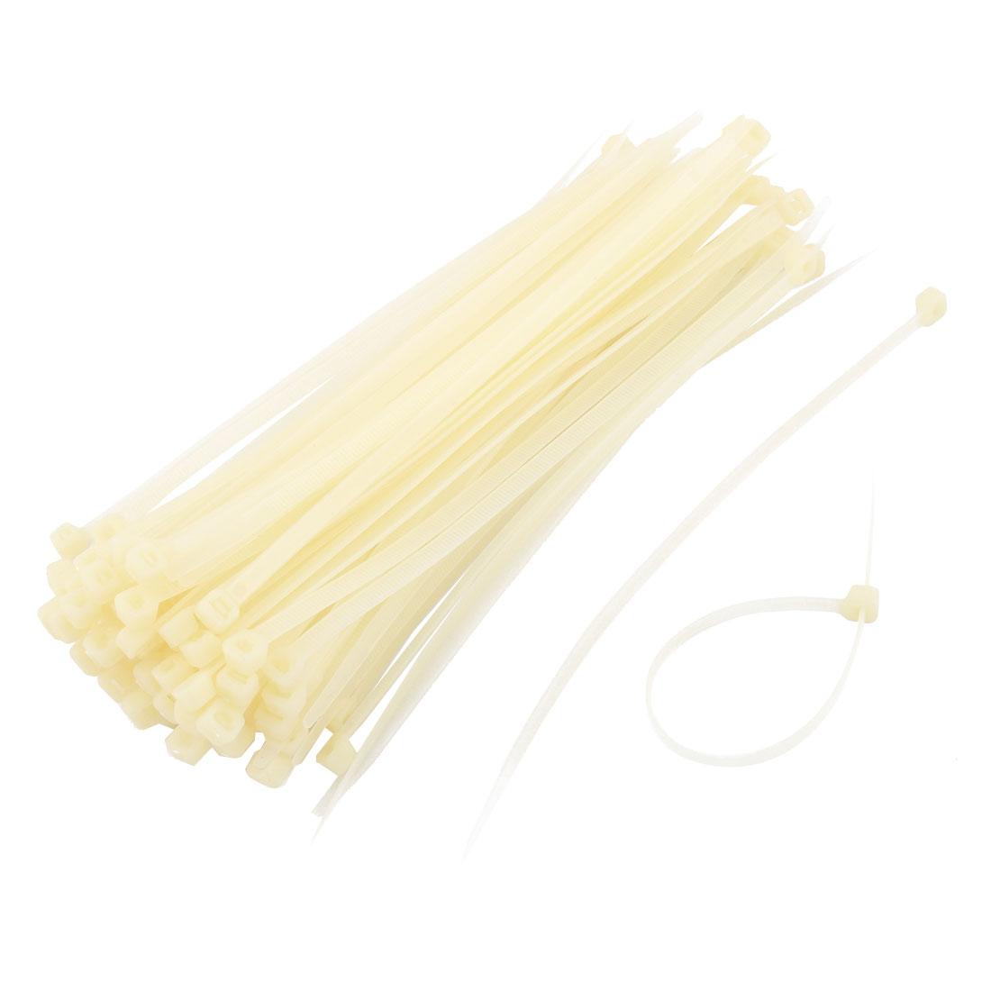 100pcs 198 x 5mm Plastic Self Locking Reusable Cable Zip Ties Fastener Beige - image 2 of 2