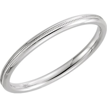 Jewelplus Platinum 2mm Comfort Fit Milgrain Anniversary Wedding