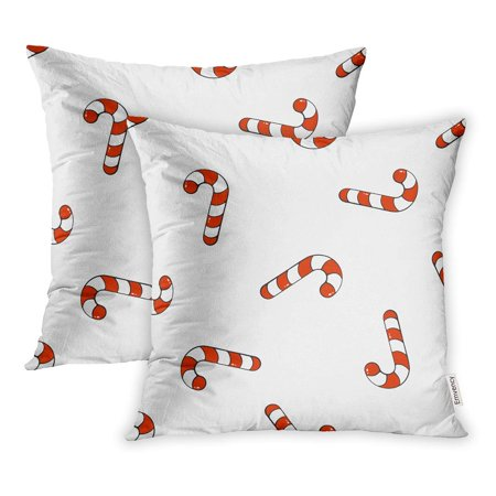 YWOTA Falling Candy Canes on Santa Stripes Sweet Holiday Food Tradition New Year Pillow Cases Cushion Cover 16x16 inch ()