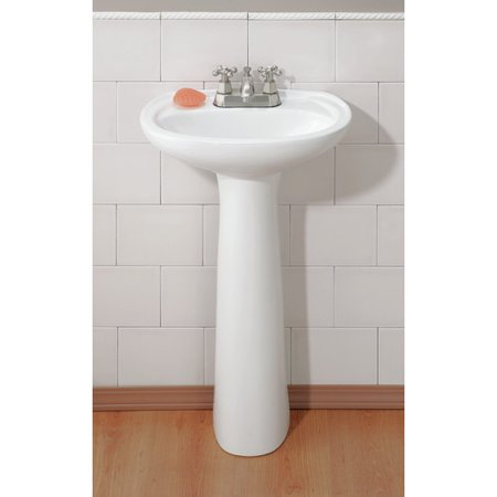 Fiore Pedestal - Cheviot Products Fiore Vitreous China 19'' Pedestal Bathroom Sink with Overflow