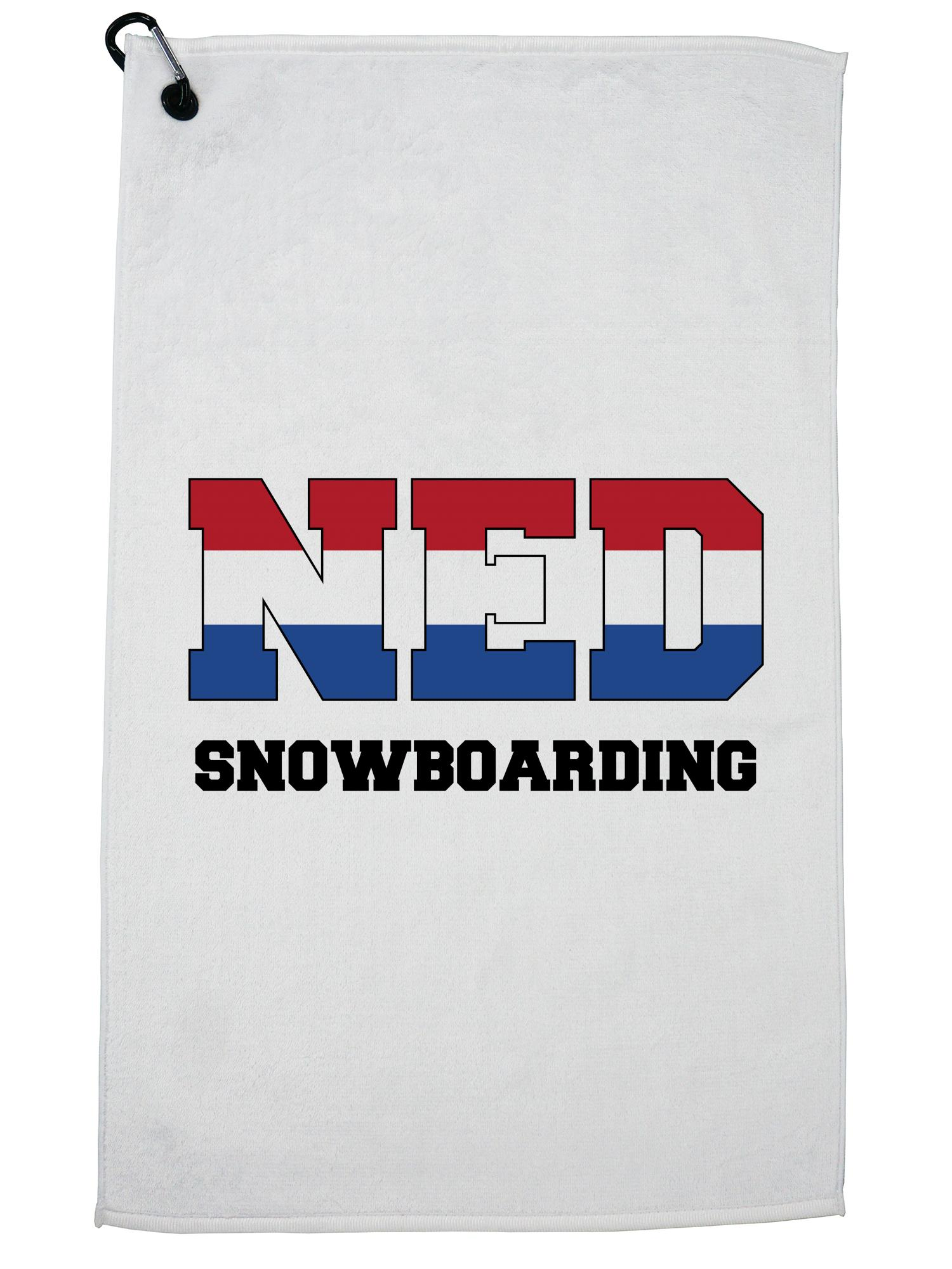 Dutch Snowboarding Winter Olympic NED Flag Golf Towel with Carabiner Clip by Hollywood Thread