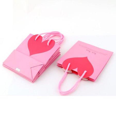 Unique Bargains Birthday Paper Heart Shaped Pattern Foldable Wrapper Box Gift Bags Pink 4 PCS