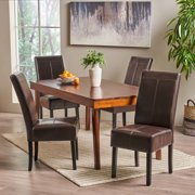 Noble House Franklin T-stitch Chocolate Brown Bonded Leather Dining Chairs, Set of 4
