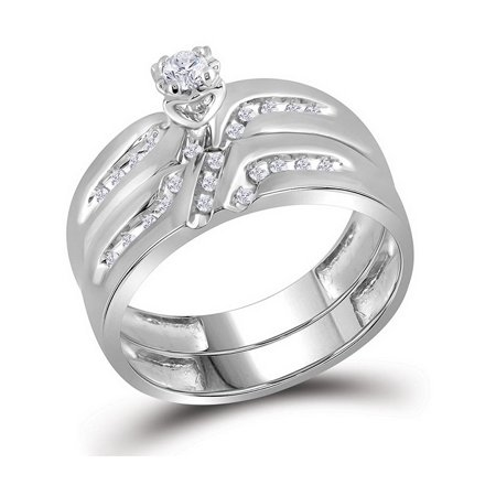 10kt White Gold His & Hers Round Diamond Solitaire Matching Bridal Wedding Ring Band Set 1/4 Cttw - image 3 de 4