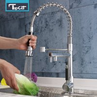 Modern Chrome Finish Pull Out Spring Kitchen Faucet Rotating Spout Sink Mixer Tap