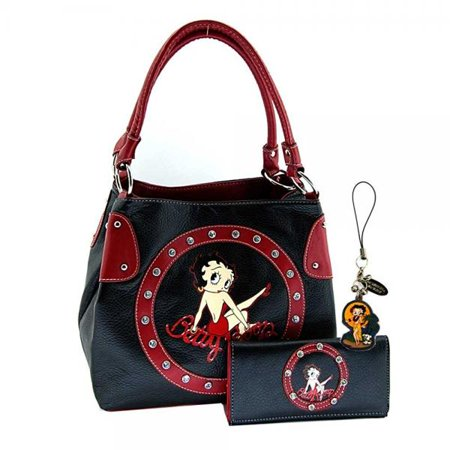 Betty Boop Purse And Wallet Set Bp10130a Black With