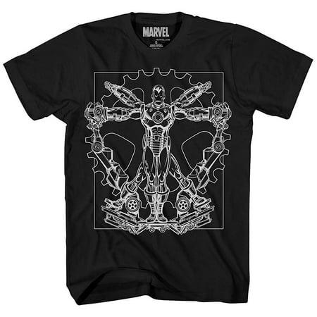 Ironman Vitruvian Avengers Leonardo da Vinci Iron Man Superhero Tee Adult Mens Graphic T-shirt (Black) (Icon Mens Shirt)