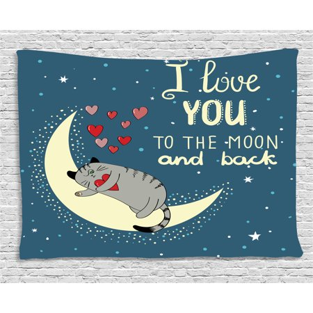 - I Love You Tapestry, Sleepy Cat Holding Hearts over the Moon at Night Sky Kitty Caricature, Wall Hanging for Bedroom Living Room Dorm Decor, 80W X 60L Inches, Slate Blue Grey Ivory, by Ambesonne