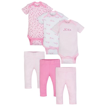 Wonder Nation Mix N Match Bodysuits & Pants Outfit Baby Shower Gift Set, 6pc (Baby Girls)