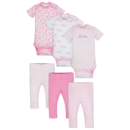 - Wonder Nation Mix N Match Bodysuits & Pants Outfit Baby Shower Gift Set, 6pc (Baby Girls)