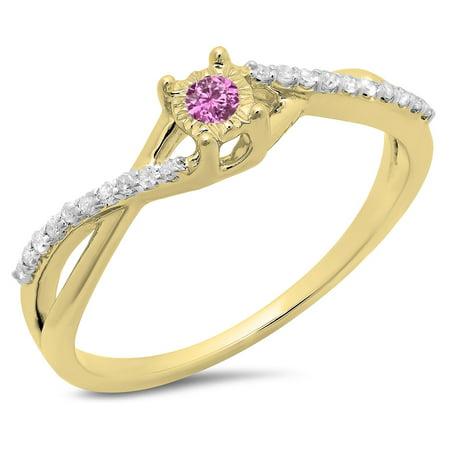 Dazzlingrock Collection 10K Round Pink Sapphire & White Diamond Swirl Split Shank Promise Engagement Ring, Yellow Gold, Size 8.5