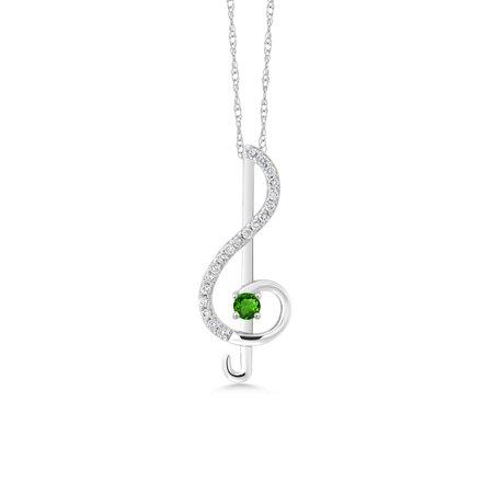 Keren Hanan Inspired by Music 10K White Gold G/H Lab Grown Diamond and  Green Simulated Tsavorite Treble Clef Pendant