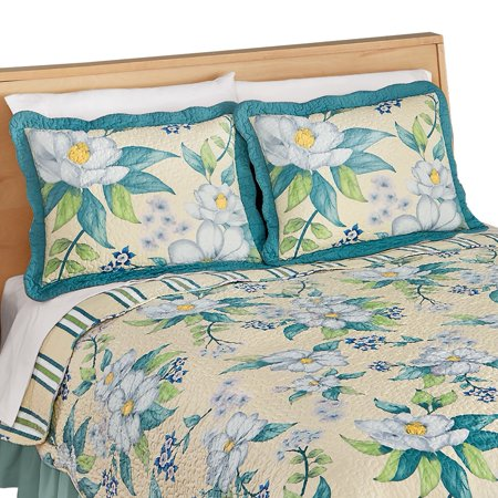 Magnolia Flowers Stripe Scalloped Edge Quilted Pillow Sham, Blue ()